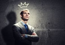 Businessman in crown Royalty Free Stock Photography
