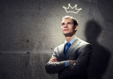 Businessman in crown Stock Photos