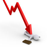 Businessman crushed by chart. 3d businessman is under an arrow pointing downwards Royalty Free Stock Photography
