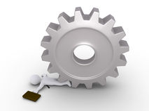 Businessman crushed by cogwheel Royalty Free Stock Photography