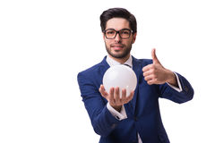 The businessman with crystall ball isolated on white background Royalty Free Stock Photos