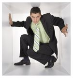 Businessman in the cube Royalty Free Stock Images