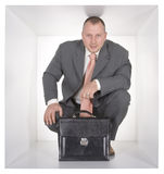 Businessman in the cube Stock Photography