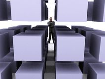 Businessman and cubes Royalty Free Stock Photos