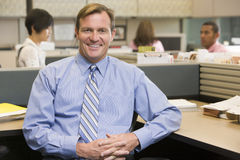 Businessman in cubicle smiling. A Businessman in cubicle smiling Royalty Free Stock Photos