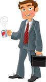 Businessman with cup and brief case Royalty Free Stock Photos