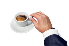 Businessman and cup of coffee Royalty Free Stock Photos