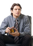 Businessman with a cup of tea Stock Photo