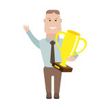 Businessman with the cup winner Royalty Free Stock Photography
