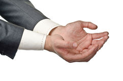Businessman cupped hands Royalty Free Stock Images