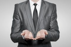 Businessman cupped hands Stock Photos