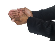 Businessman cupped hands Royalty Free Stock Photo