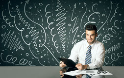 Businessman with curly lines and arrows Stock Images