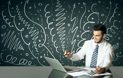 Businessman with curly lines and arrows Royalty Free Stock Images
