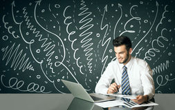 Businessman with curly lines and arrows Royalty Free Stock Photography
