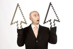 Businessman with cursor arrows. Bald headed businessman with two cursor arrows on hands pointing upwards for growth, isolated on white background Stock Image