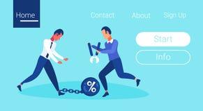 Businessman cut chain colleagues leg bound paid percent credit debt finance freedom concept cooperation teamwork success. Horizontal copy space flat vector stock illustration