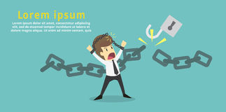 Businessman cut the chain and free himself from debt.Financial fr Royalty Free Stock Images