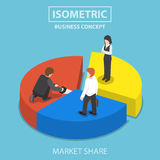 Businessman cut chart pie with saw and sharing to colleague. Market share concept Stock Photography