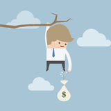 Businessman cut the rope of money sack to survive, Cut loss concept. VECTOR, EPS10 Stock Photos