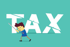 Businessman cut tax with sword. This illustration about save money by tax deduction Royalty Free Stock Photos