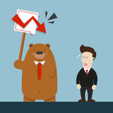 Businessman and cute big brown bear in stock market going down Stock Image