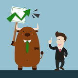 Businessman and cute big brown bull in stock market going up Royalty Free Stock Photo
