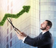 Businessman that cuts and adjusts a plant shaped like an arrow stats. Concept of startup company . 3D Rendering stock image