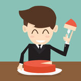 The businessman cutting big cake piece Stock Photos