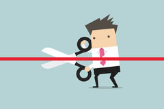 Businessman cutting a red ribbon with scissors. royalty free illustration