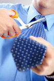 Businessman cutting the tie Stock Image