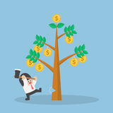 Businessman cutting tree of money Royalty Free Stock Photography