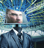 Businessman in cyberspace Royalty Free Stock Image