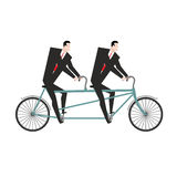 Businessman cycling. Business team goes on bike tandem. Manual m Royalty Free Stock Image