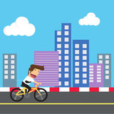 Businessman cycling for health and energy saving Royalty Free Stock Photos
