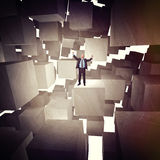 Man and 3d cubes Stock Images