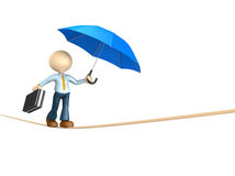 Businessman. 3d people - man, person doing balance with a briefcase and a umbrella Stock Photography