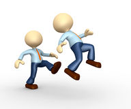 Businessman. 3d people - man, person kicking in the behind the opponent Royalty Free Stock Image
