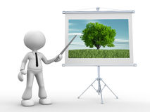 Businessman. 3d people - man, person pointing at a flip board with scenery of nature Royalty Free Stock Image