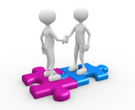 Businessman. 3d people - man, person standing on the puzzle and make a handshake Stock Photos
