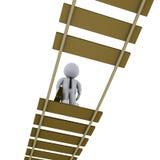 Businessman on damaged bridge looking down. 3d businessman on damaged suspended bridge is looking down vector illustration