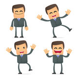 Businessman dancing and jumping from joy Royalty Free Stock Image