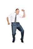 Businessman dancing and screaming. Happy businessman dancing and screaming isolated on white background stock images