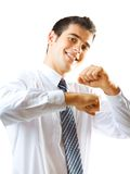 Businessman dancing, on white. Businessman dancing, isolated on white Royalty Free Stock Photography