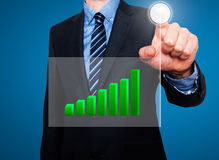 Businessman in dark suit pushing button, visual screen Growth gr Stock Image