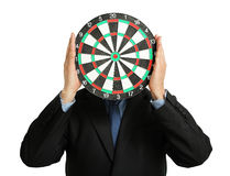 Businessman with dartboard Royalty Free Stock Photos