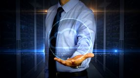 Businessman with data cloud hologram royalty free stock images