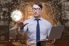 The businessman in data mining concept with laptop Royalty Free Stock Image