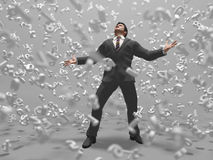 Businessman in a data storm. Businessman in a digital data storm Royalty Free Stock Images