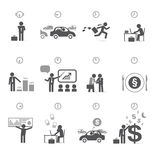 Businessman day in hours - time management. Concept - icons and design elements Royalty Free Stock Photo
